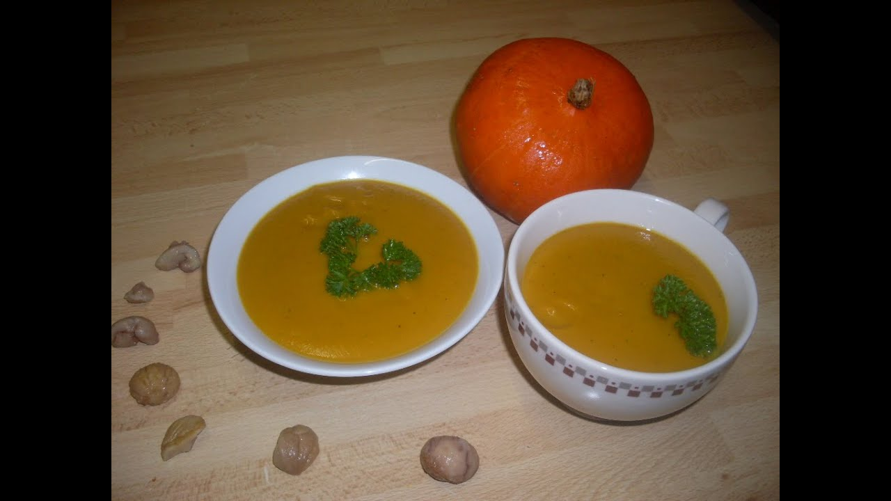 Recette de la soupe velouté au potimarron et marron - YouTube
