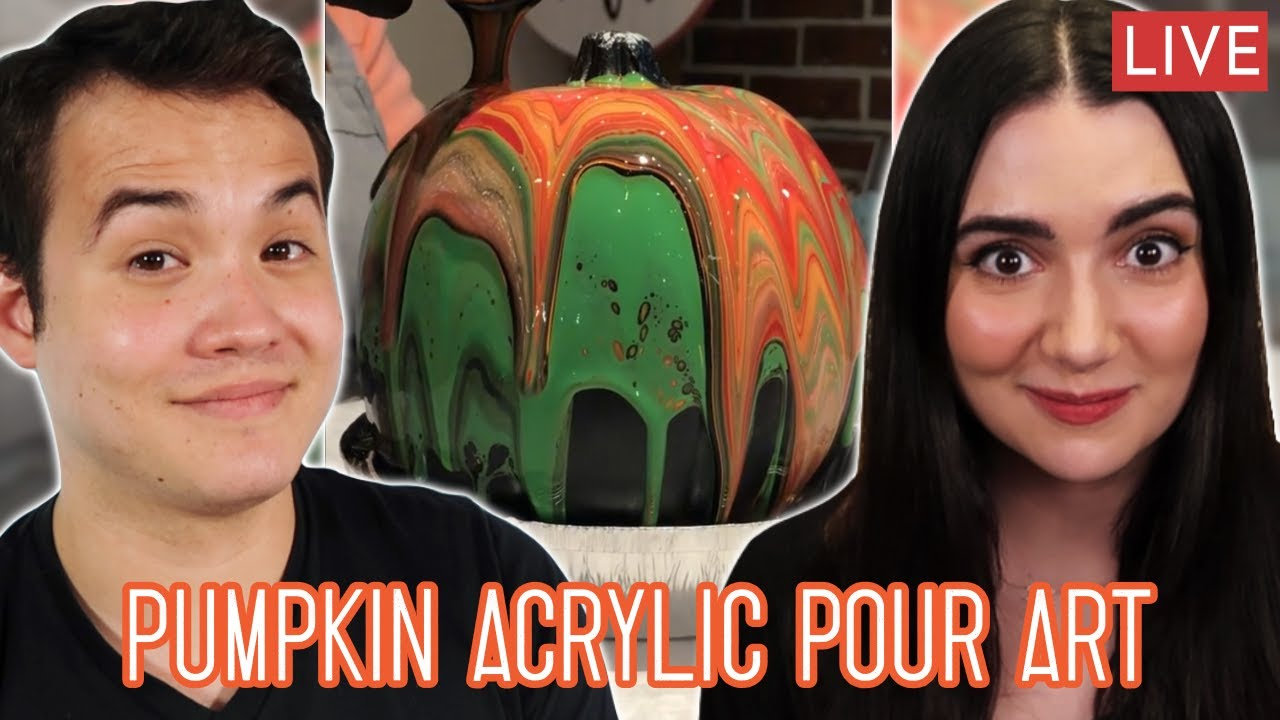 Download Making Pumpkin Acrylic Pour Art Live