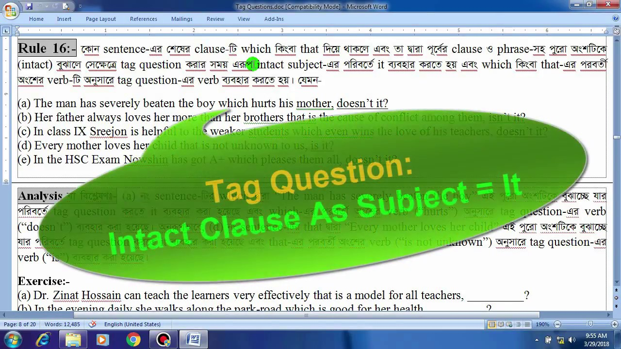 Tag Question: Intact Clause As Subject = It (in Bangla)