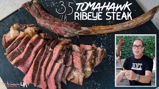 Perfectly Cooked 3.5 Pound Tomahawk Ribeye Steak | SAM THE COOKING GUY 4K