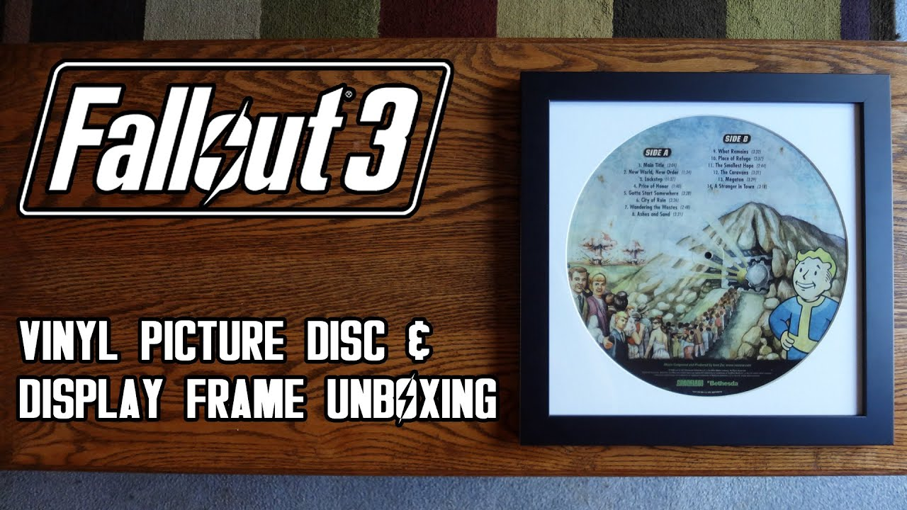 fallout 3 vinyl record picture disc display frame unboxingsetup review hd 1080p