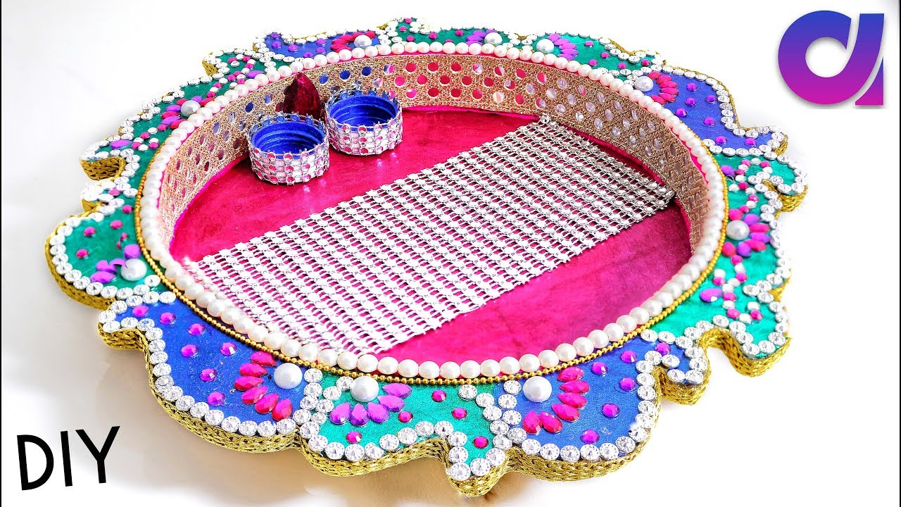 Diy ideas how to make handmade pooja thali at home for Best out of waste making