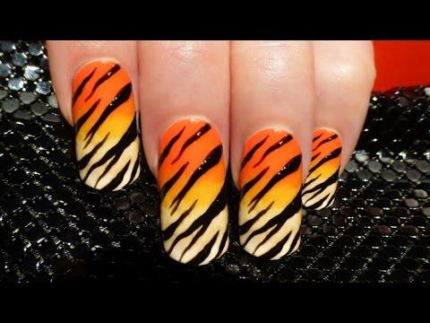 Tiger Nails ♥ Tiger Nail Art - YouTube