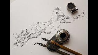 Скетчинг, быстрый набросок - как рисовать дерево - ель