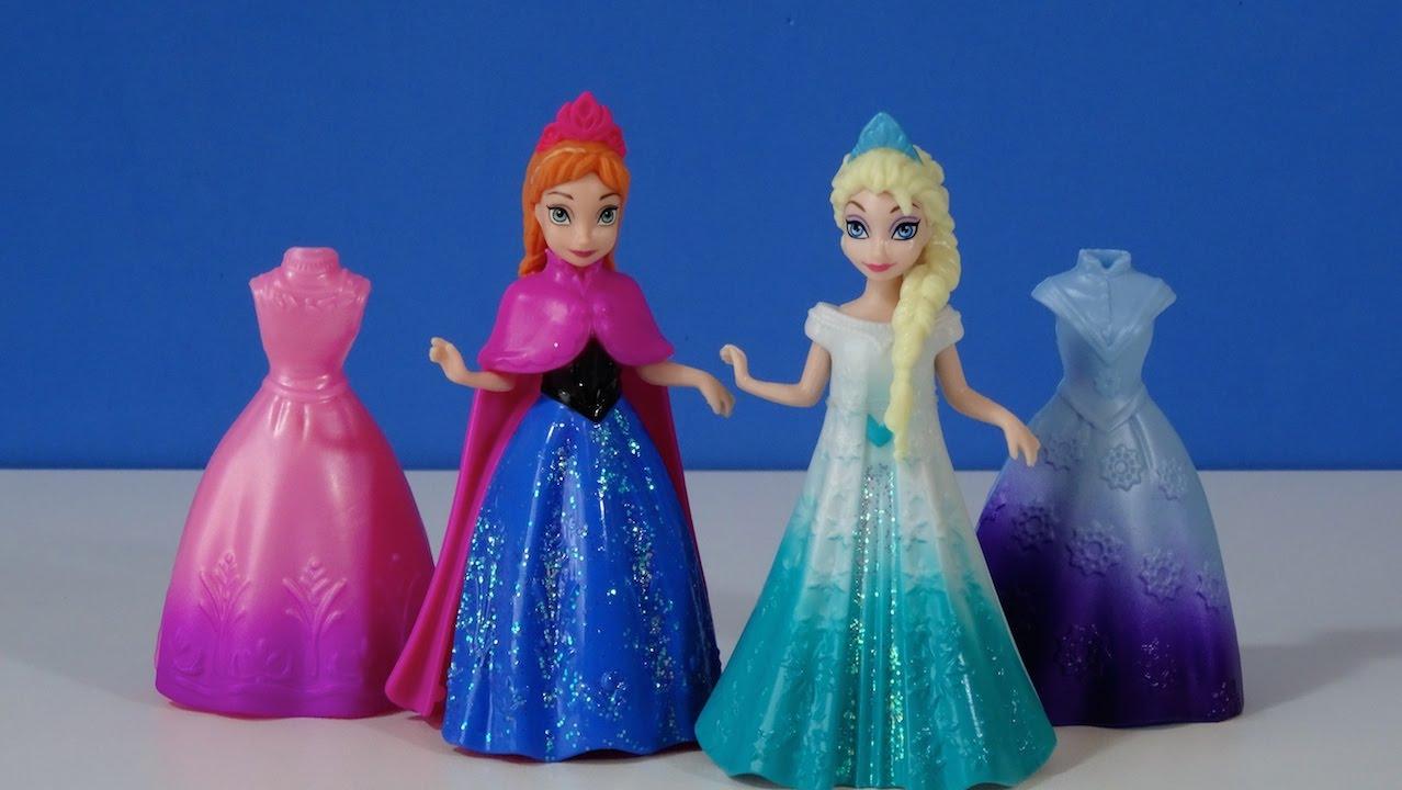 Disney Frozen Anna and Elsa Magi Clip fashions Mini Dolls  YouTube