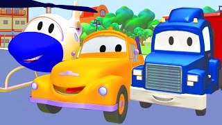 tom the tow truck car patrol and carl transform with the helicopter in car city   trucks cartoon