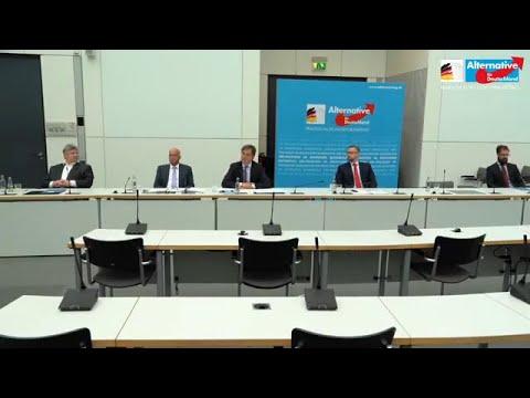 AfD Pressekonferenz. Presse stellt Fragen u.a. Causa Andreas Kalbitz, AfD antwortet. 01.07.2020