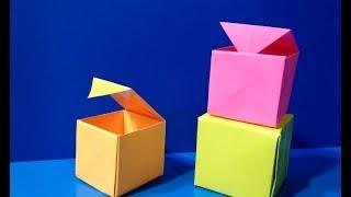Коробка с крышкой оригами из бумаги/Подарочная коробка своими руками/Ящик для хранения мелочей