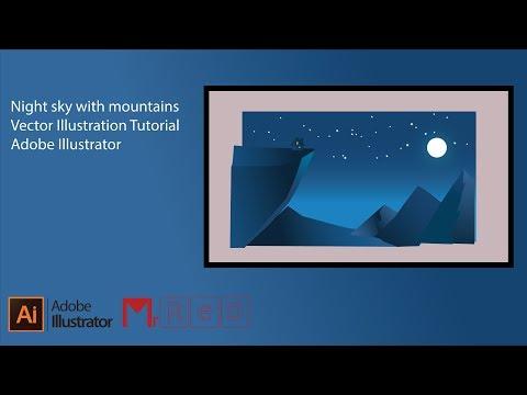 Night sky with mountains   Vector Illustration   Tutorial   Adobe Illustrator thumbnail