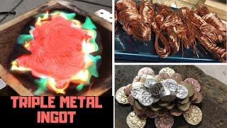 Triple Metal Sunken Treasure  Ingot Casting - Molten Metal - Copper Brass Aluminium