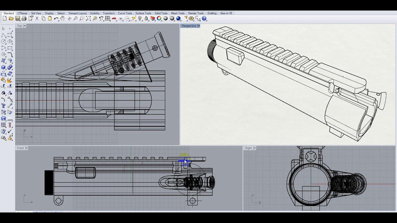 Ar 15 upper receiver 3d modeling in rhino 5 part 6 youtube for Arkansas blueprint