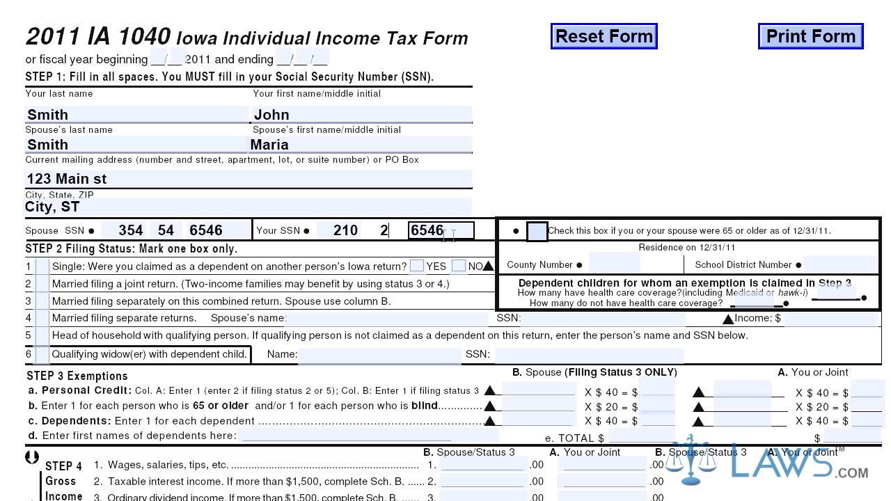 Form IA 1040 Iowa Individual Income Tax Form - YouTube