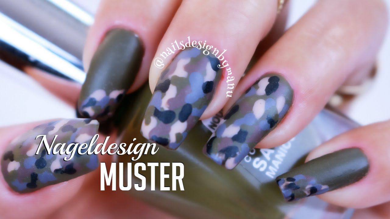 einfaches muster nageldesign f r anf nger easy camouflage nail art design for beginners youtube. Black Bedroom Furniture Sets. Home Design Ideas