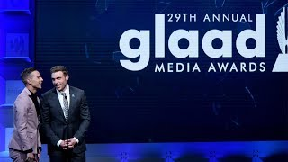 Gus Kenworthy & Adam Rippon kiss on stage | 29th Annual GLAAD Media Awards