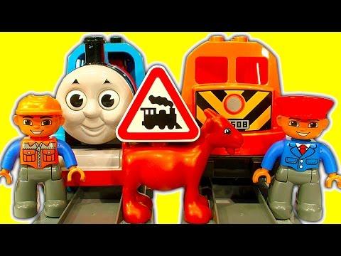 LEGO DUPLO Trains Vs Thomas The Tank Fake DUPLO Toy Train Fun & Crashes
