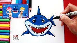 Aprende a dibujar al Tiburón de la canción BABY SHARK | How to Draw Daddy Shark (Baby Shark Song)