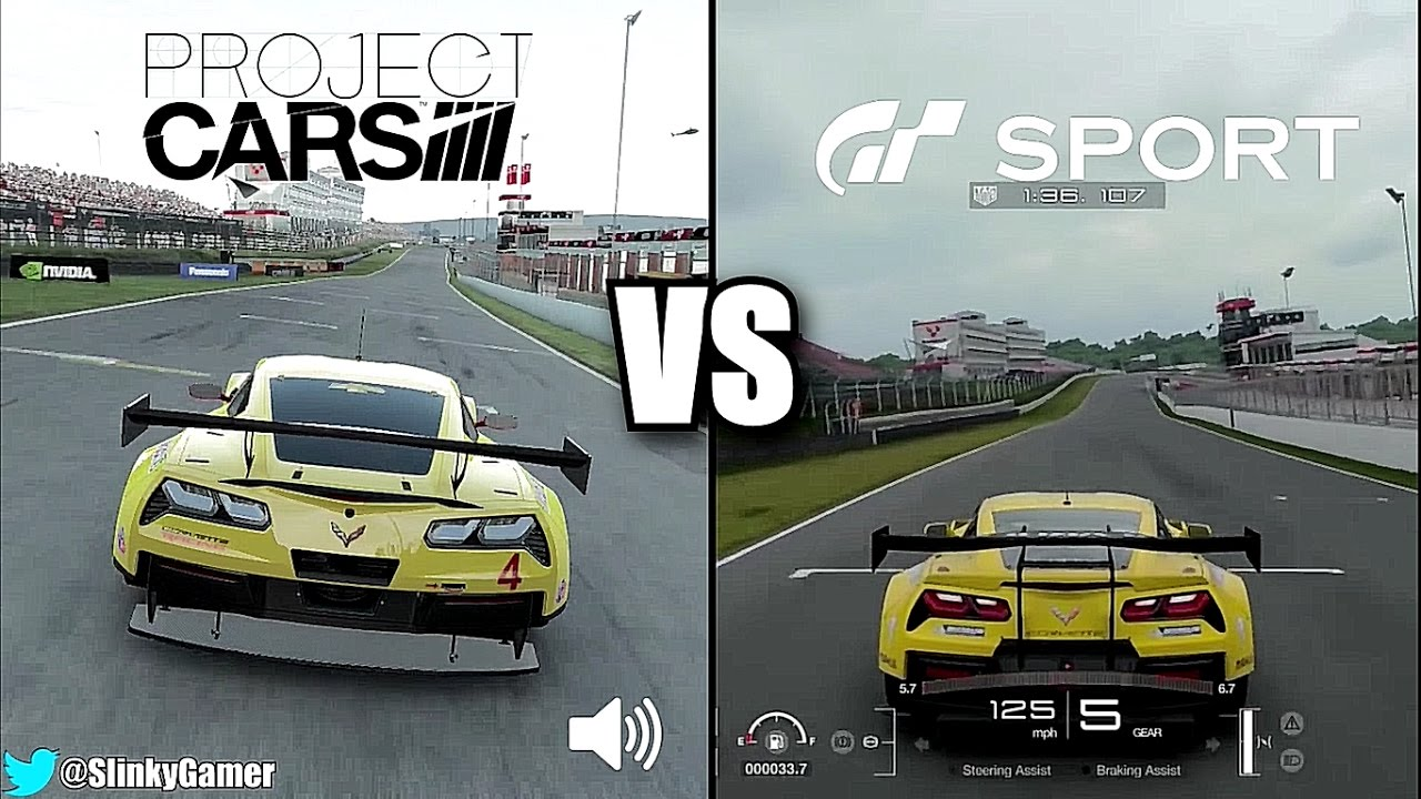Gran Turismo Sport Vs Project CARS   Corvette C7.R @ Brands Hatch    Graphics And Sound Gameplay