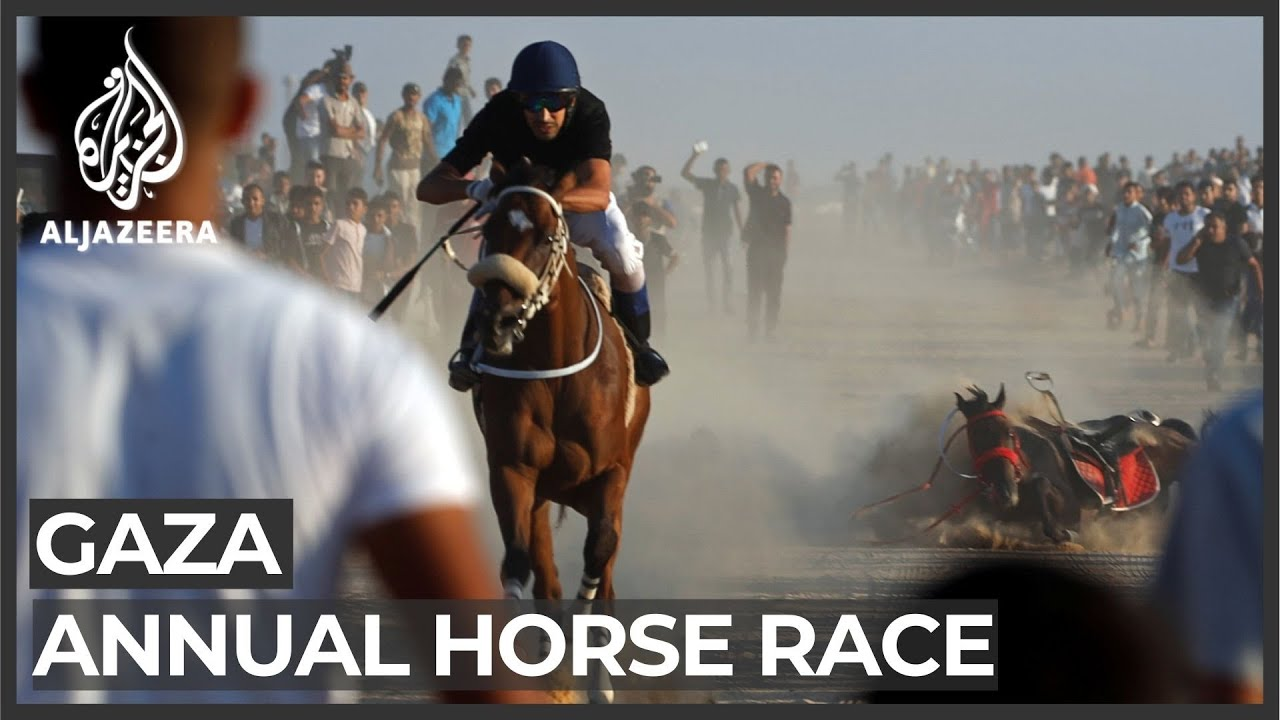 Gaza horse race takes place on destroyed airport runway - YouTube