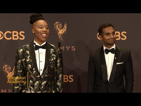 69th Emmys: Aziz Ansari and Lena Waithe Press Room Interview