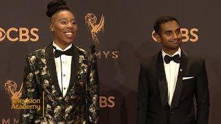 69th Emmys: Aziz Ansari and Lena Waithe Press Room Interview