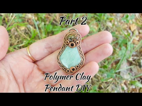Amazonite Polymer Clay Pendant Tutorial Part 2, Gemstone, Diy, Polymer Clay Jewelry, Clay Pendant