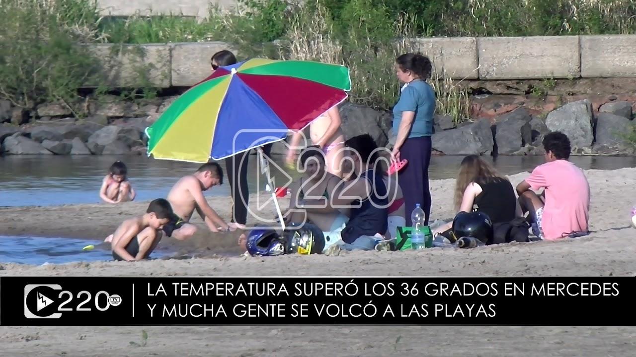 Primera jornada de intenso calor en Mercedes con mucha gente en la playa