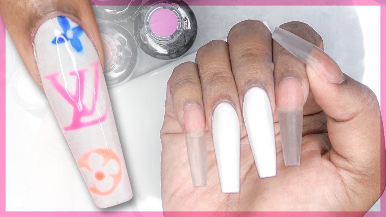 Louis Vuitton Acrylic Nails - Free Hand Nail Art LongHairPrettyNails