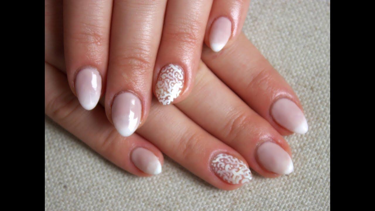wedding manicure lubne paznokcie babyboomer koronka semilac mollon pro youtube. Black Bedroom Furniture Sets. Home Design Ideas