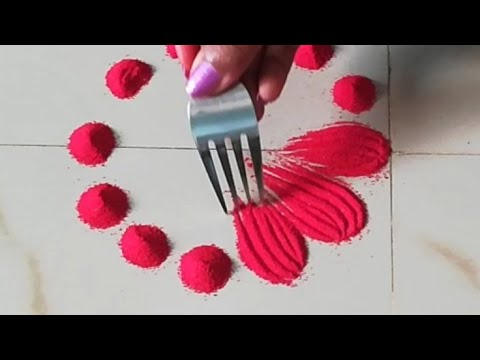 इतनी easy rangoli design जो आप भी बना लेंगे    Beautiful muggulu/kolam designs by using fork    thumbnail