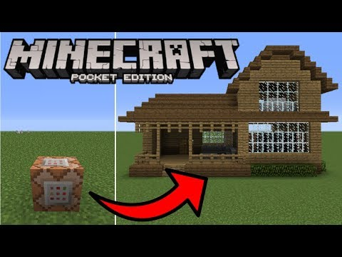 Minecraft PE - How To Spawn Houses With Commands!
