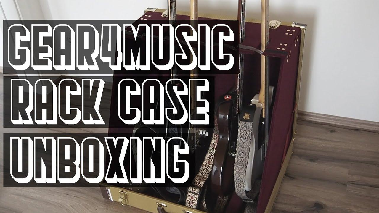 unboxing gear4music 6 guitar tweed rack case