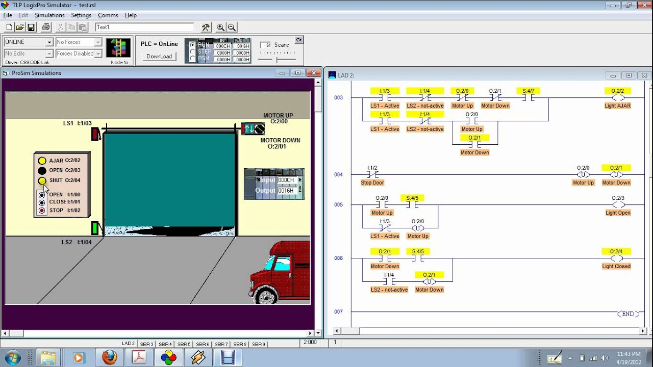 Logixpro Door Simulation 3 Example Latch Instructions
