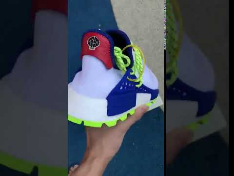 2140f08a4 Adidas NMD Hu Pharrell NERD Homecoming Human Race EE6283 copy vs real  compare on feet