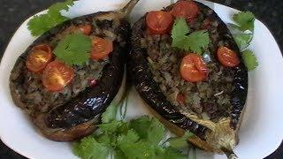 Вкусные, сочные баклажаны фаршированные мясным фаршем с овощами.