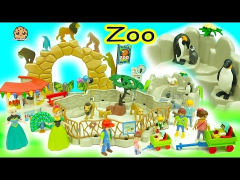 Disney Frozen Queen Elsa + Anna Go To Playmobil Animal Zoo - Toy Video