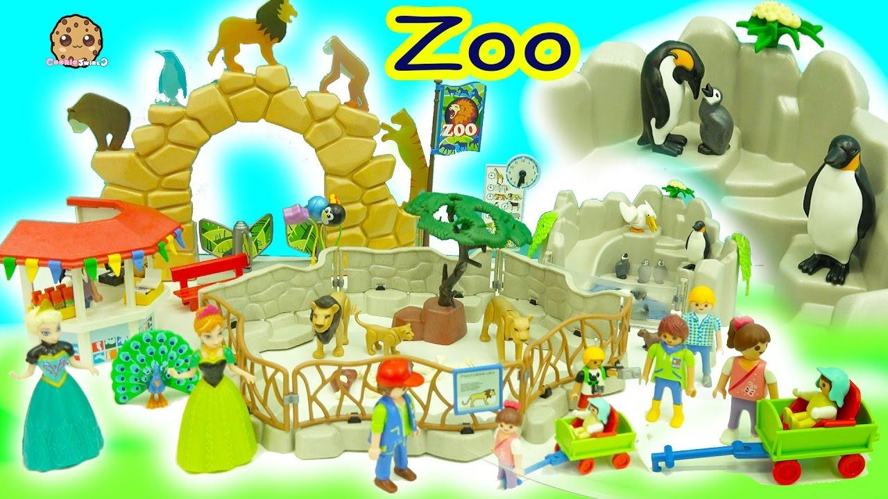 Download Disney Frozen Queen Elsa + Princess Anna Go To Playmobil Animal Zoo - Toy Video