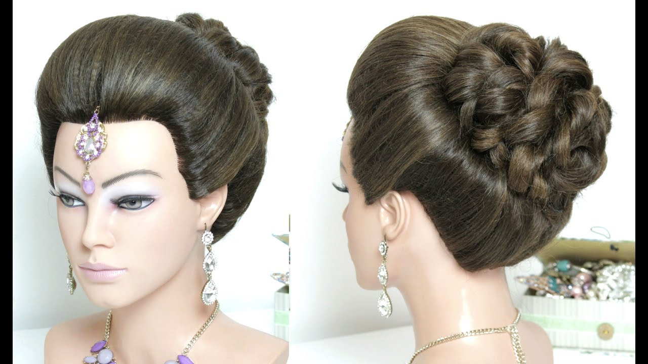 high juda hairstyle with puff for long hair. bridal style