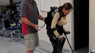 eLEGS Ambassador Tamara Mena walks off tether in eLEGS for the first time at Berkeley Bionics