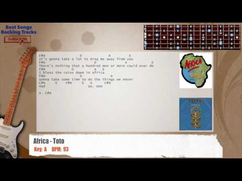 Africa - Toto Guitar Backing Track with chords and lyrics