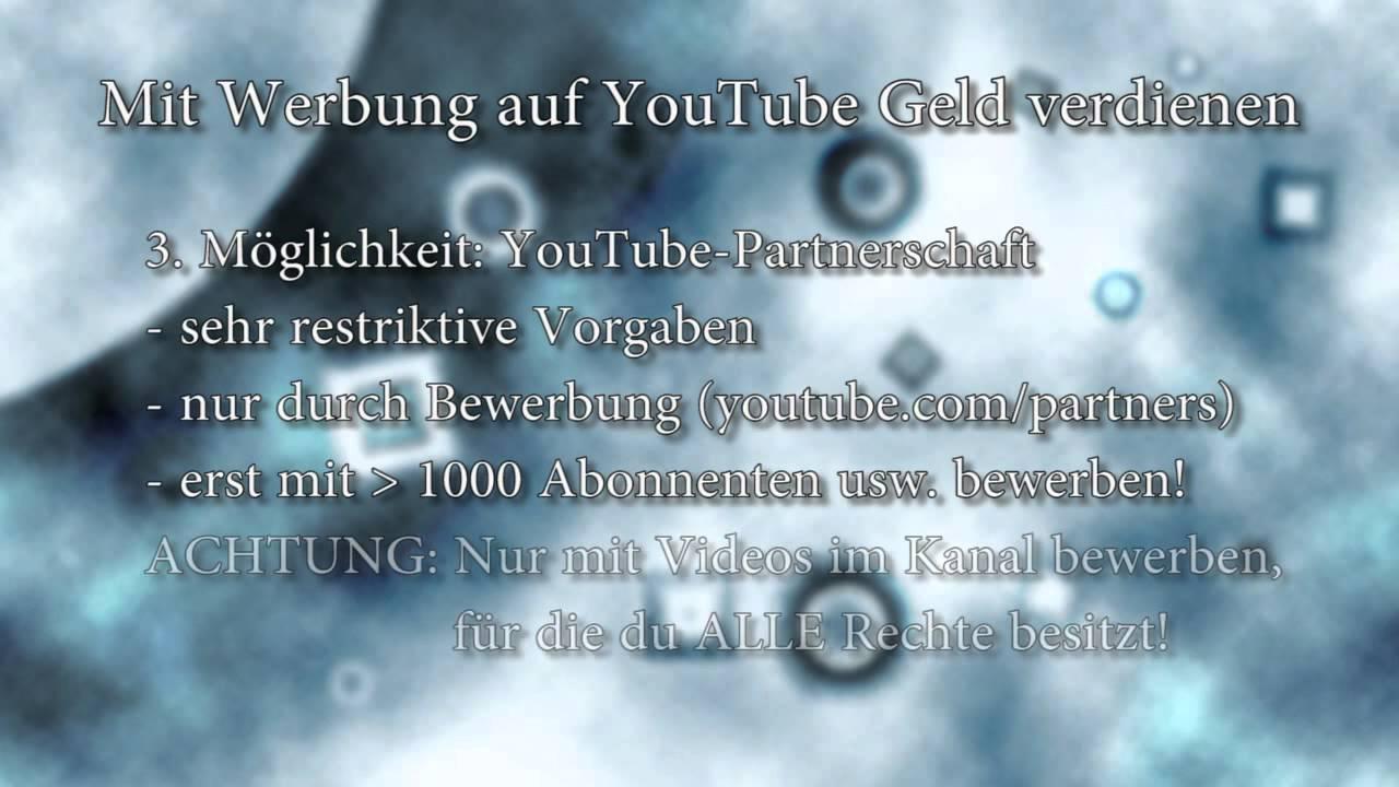 Mit Werbung auf YouTube Geld verdienen (Umsatzbeteiligung ...