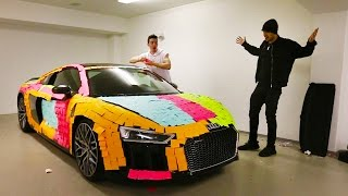 CRAZY STICKY NOTE PRANK ON AUDI R8!!