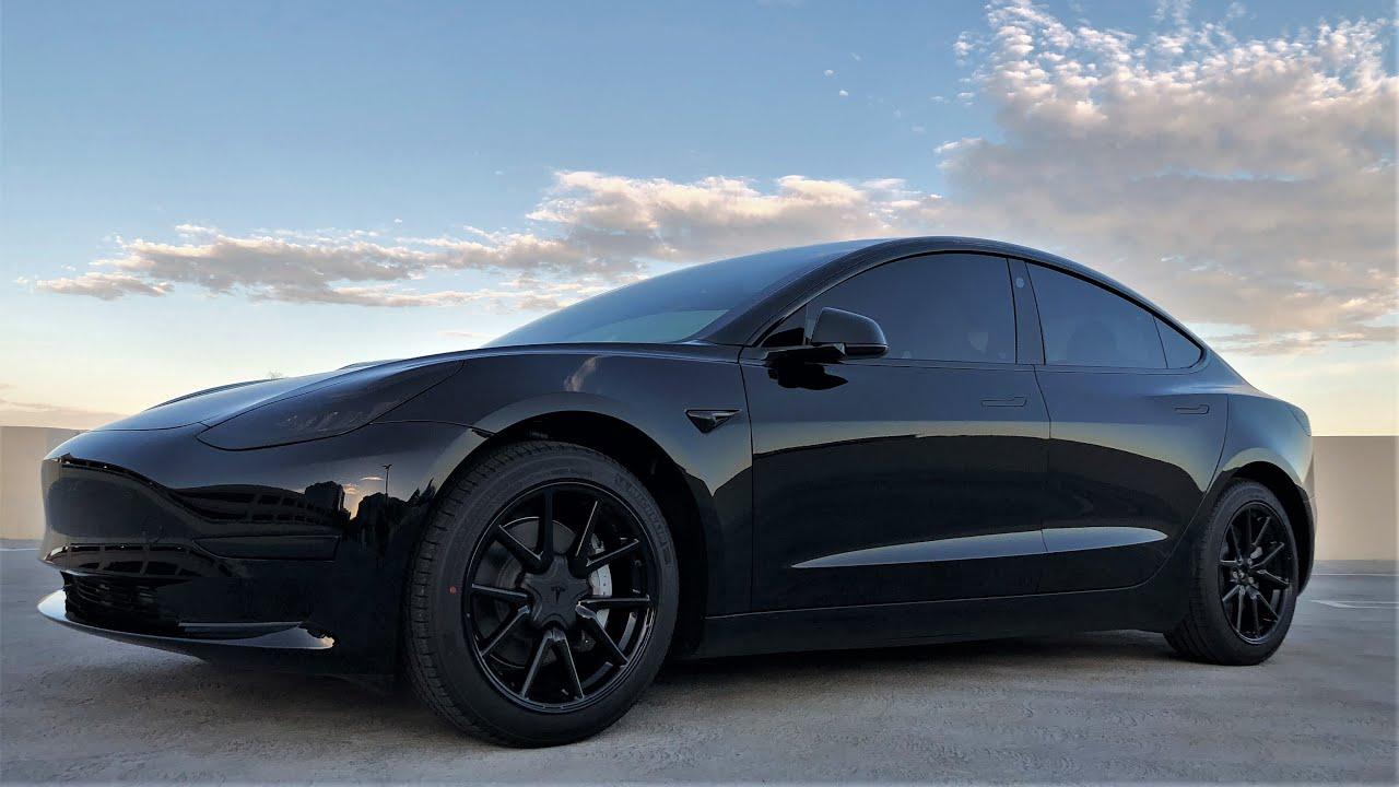 Model 3 Blackout Walkthrough - Chrome Delete Tint Powder Coat Wheels Costs  - SR+ Project - YouTube