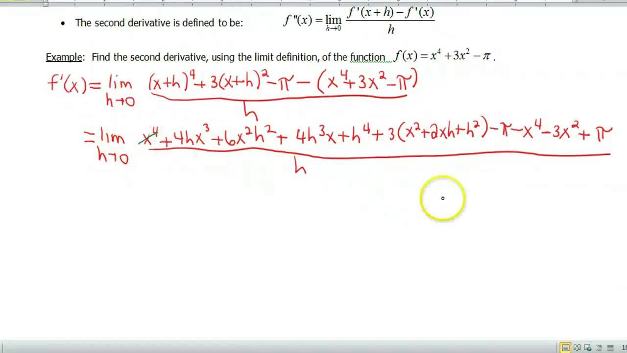 Screencast 1.6.2: Limit Definition of the Second ...