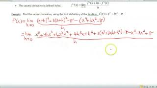 Screencast 1.6.2: Limit Definition of the Second Derivative