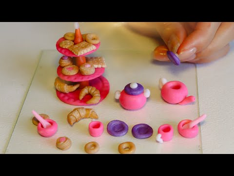 Miniature polymer clay kitchen set and cookies with croissants| Easy to do