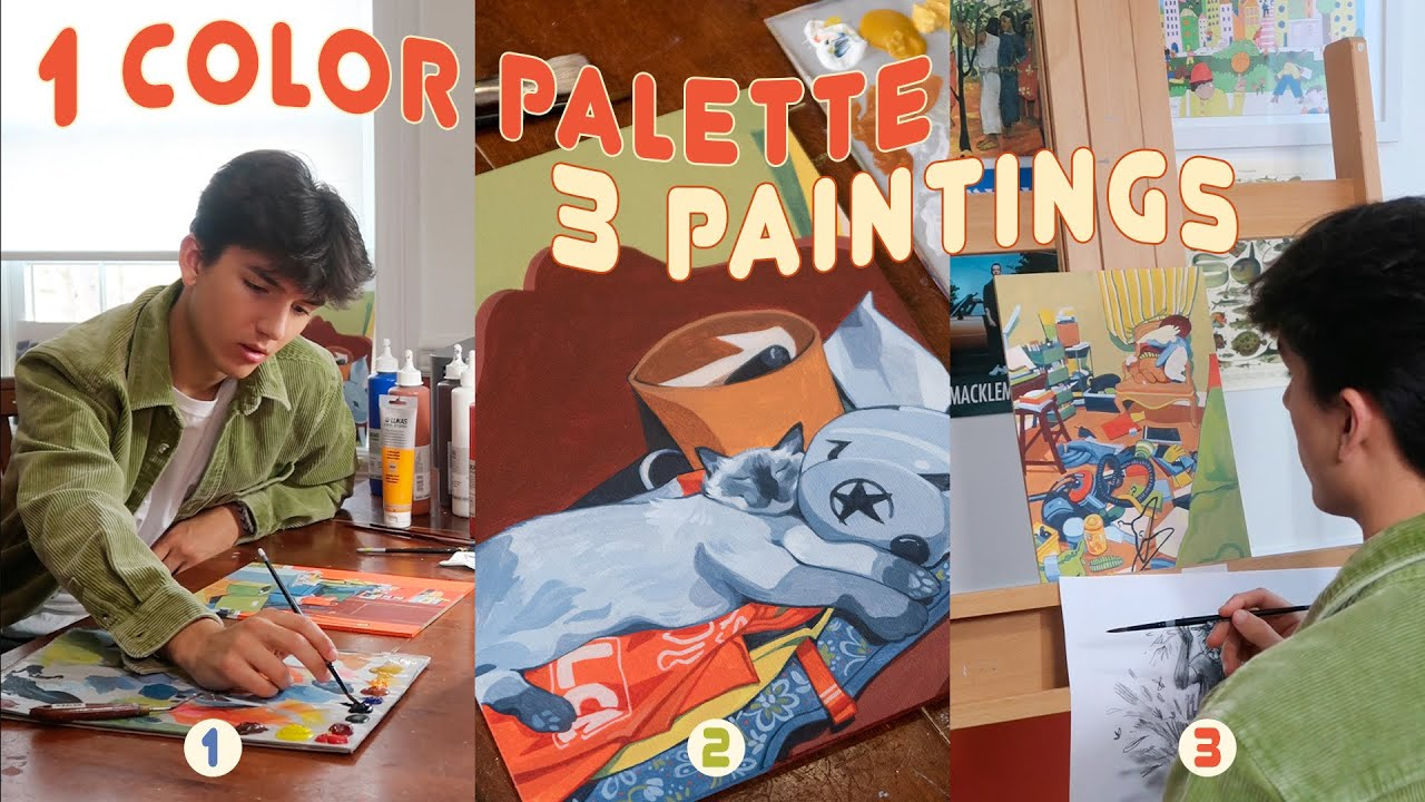 artist paints 3 pieces all at once?