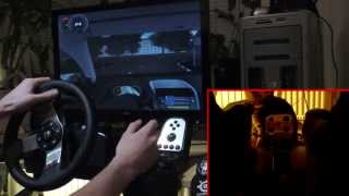 City Car Driving simulator 1.2.5 with Logitech G27 - gameplay, demonstration + cat licking my feet.