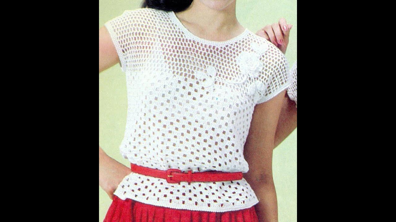 Patrón Para Tejer Blusa Calada Con flores a Crochet - YouTube