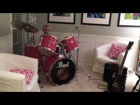 11 year old gets a Pearl drum set for his birthday