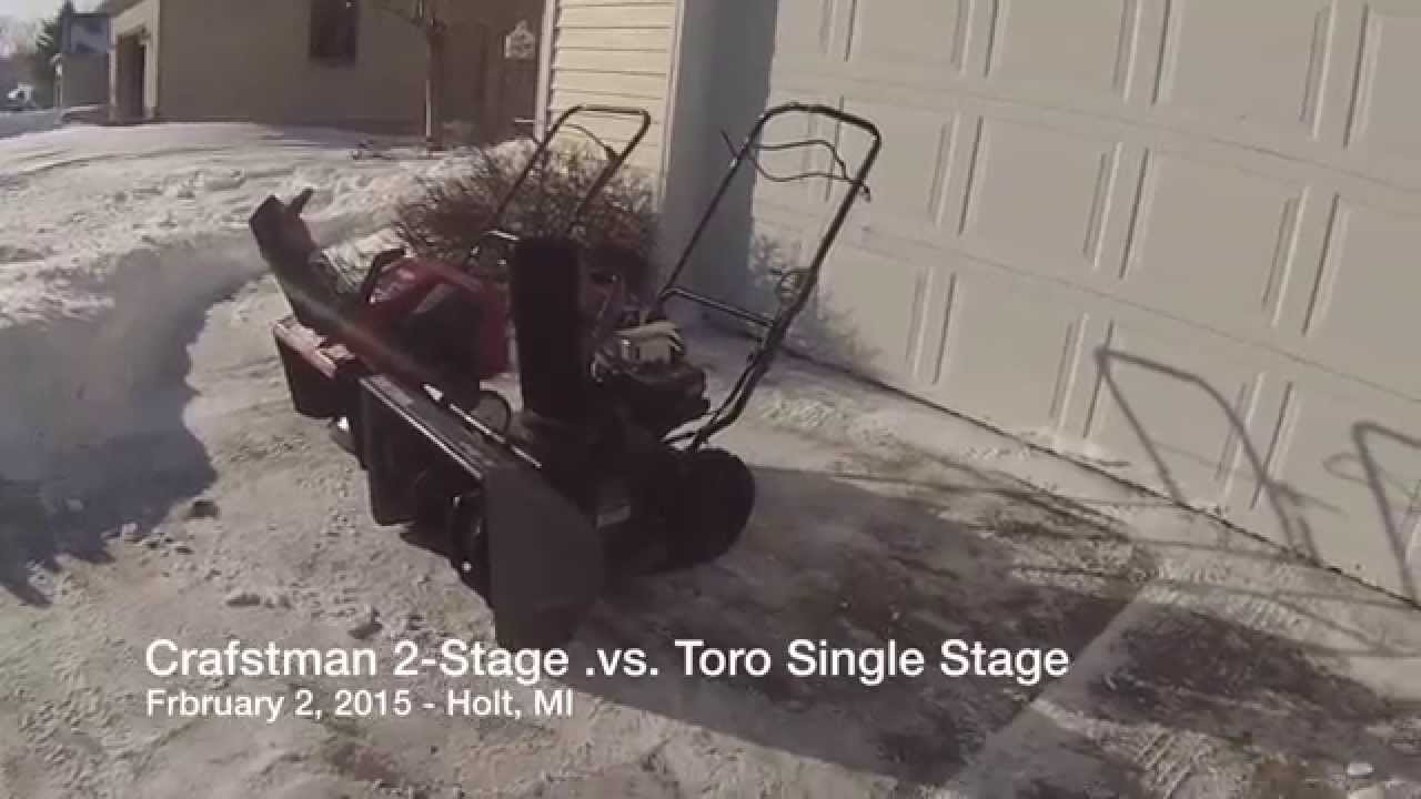 2 Stage Snowblower >> Snow Blower Test / Review: Craftsman 5.5 HP Two-Stage versus Toro Single Stage 5HP - YouTube